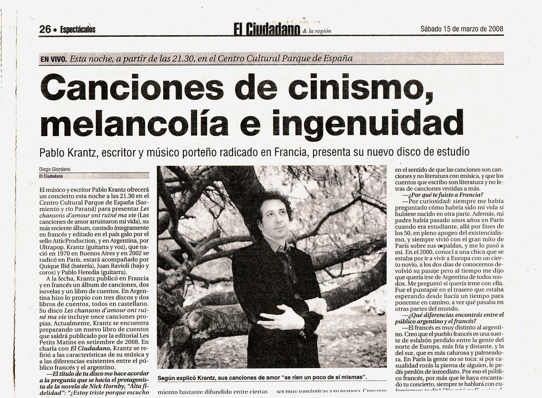 Diario El Ciudadano, Rosario, Argentina, 2008