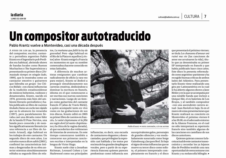 Diario La Diaria Uruguay 2008