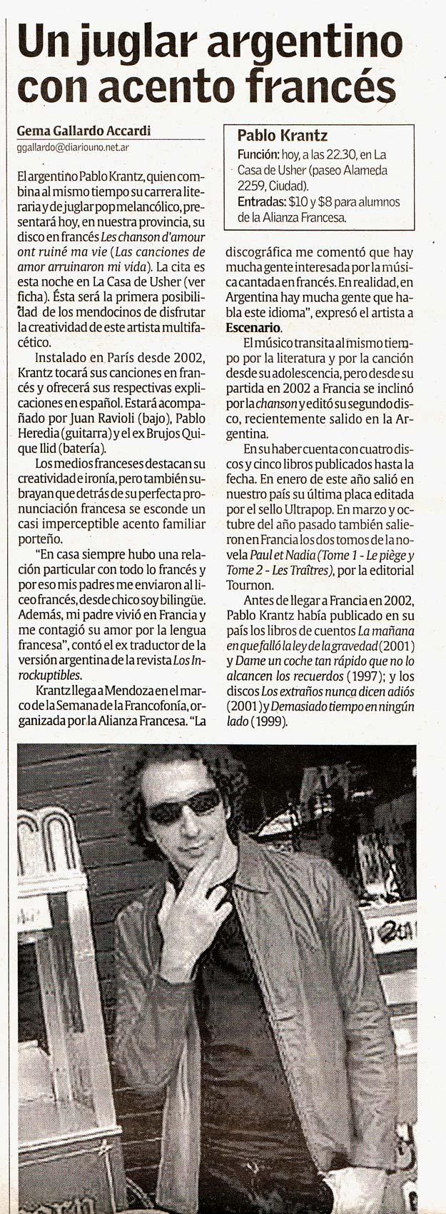 Diario Uno, Mendoza, Argentina, 2008