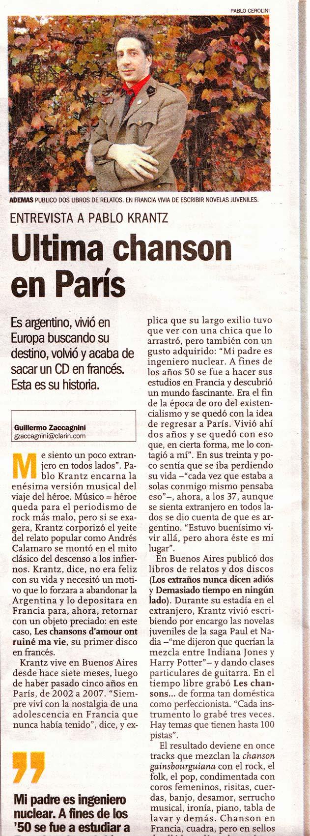 Diario Clarin, Argentina, 2008