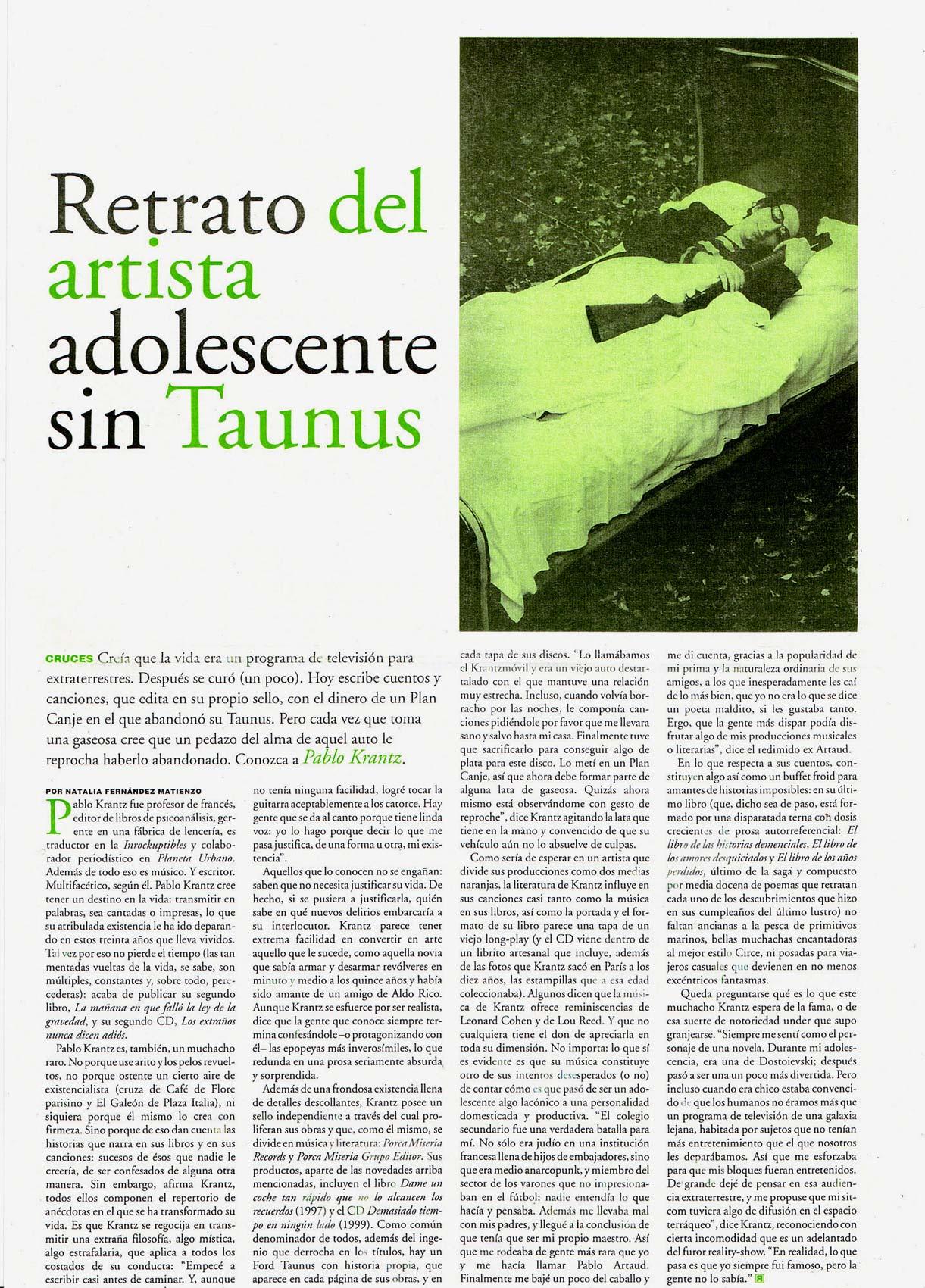 Diario Pagina12, Argentina, 2001