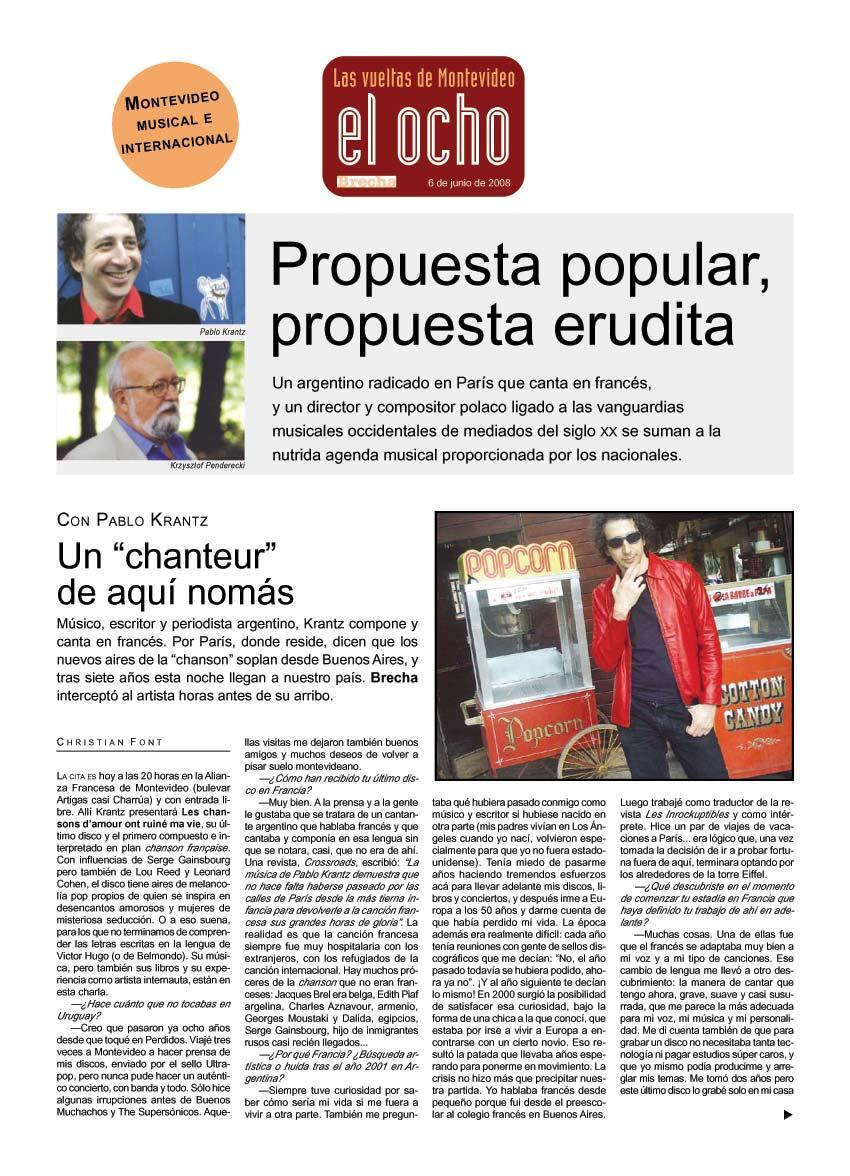 Semanario Brecha, Uruguay, 2008