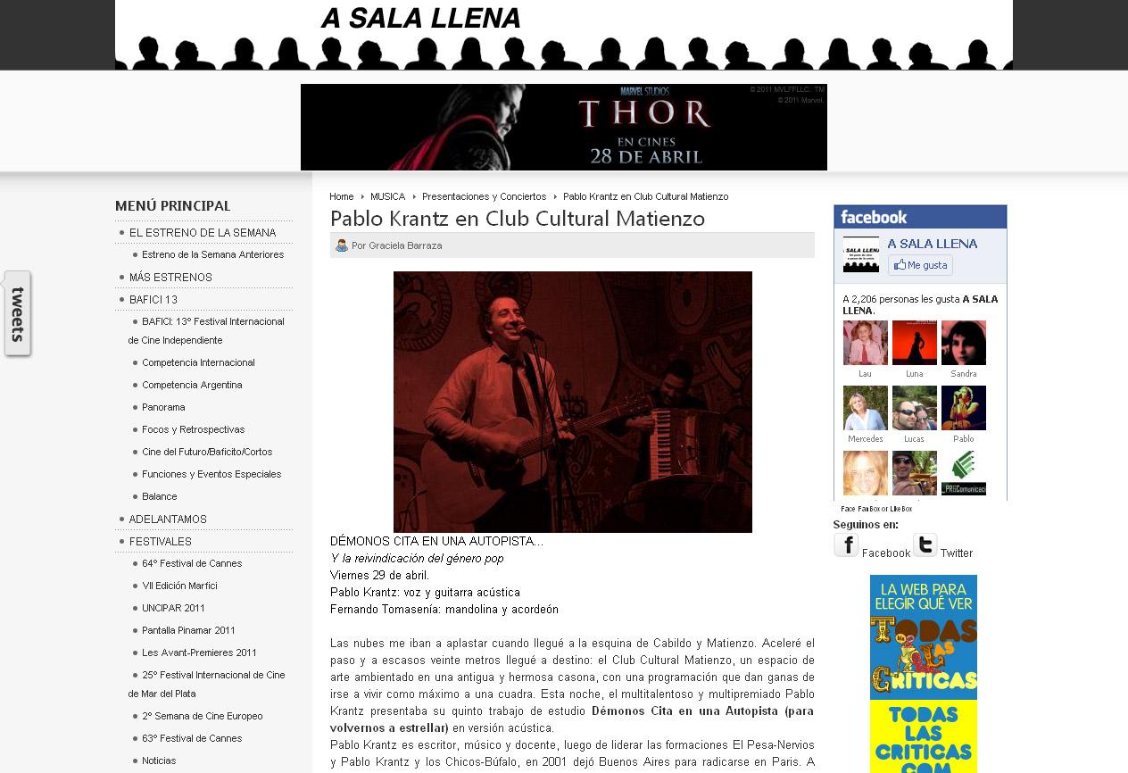 Revista A Sala Llena online, 2011